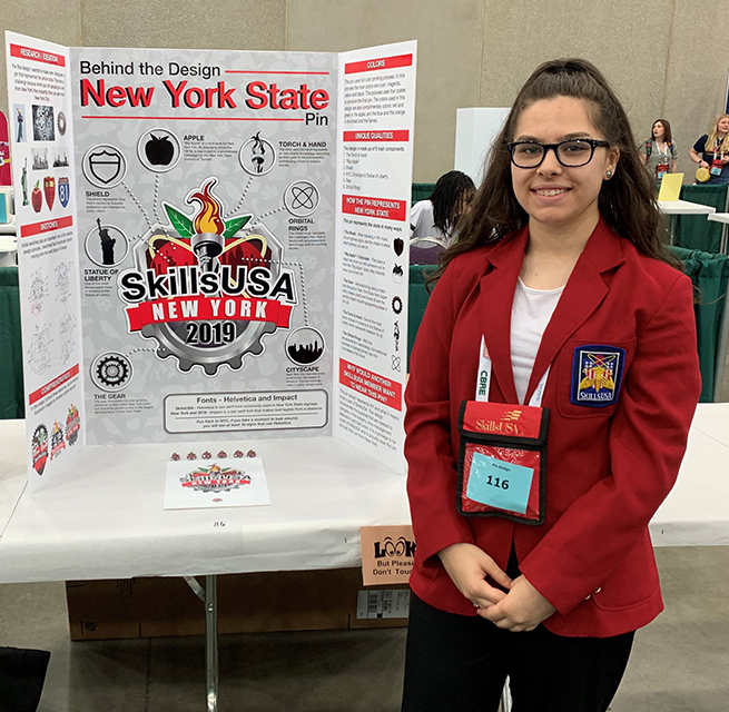 Brooke Dorazio with her Pin Design display