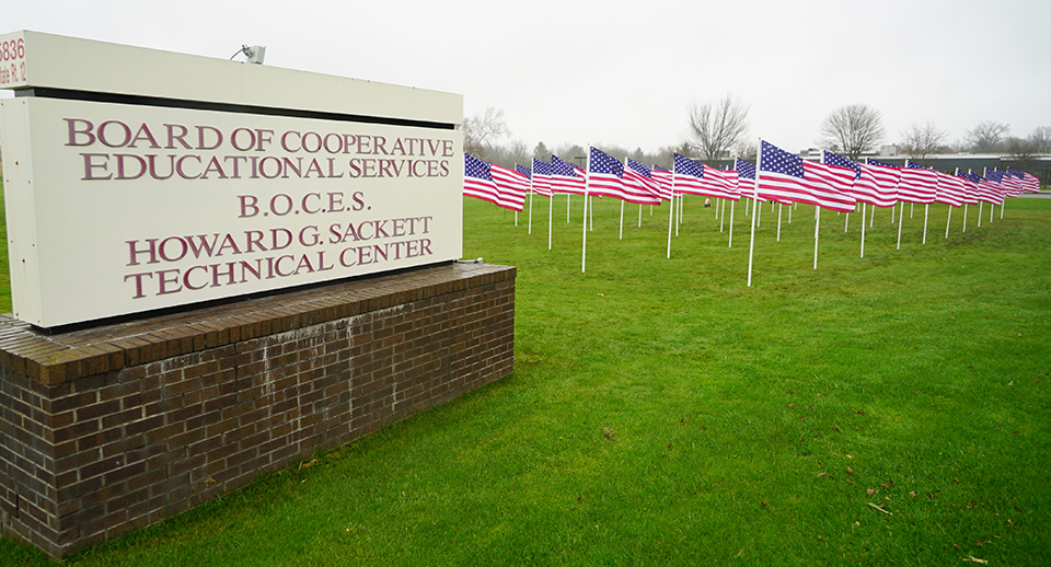 flags and tech center sign