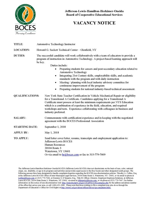 Automotive Technology Instructor Vacancy Notice