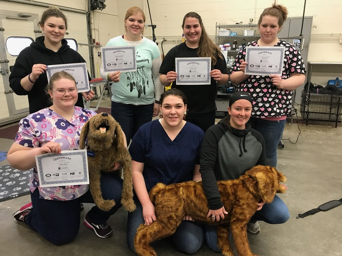 Vet practices students showing their certificates