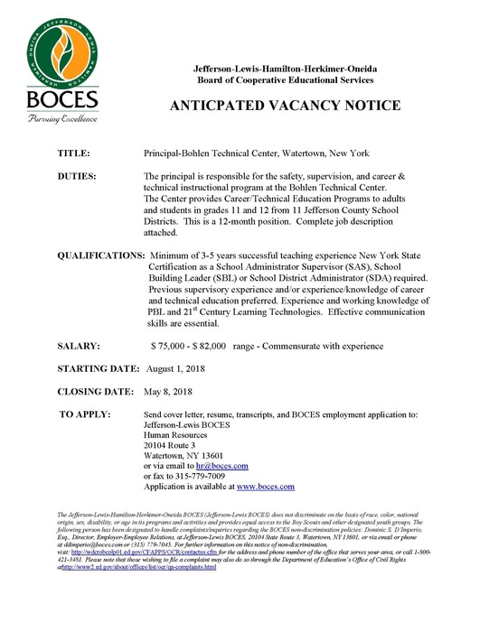 Job Vacancy notice